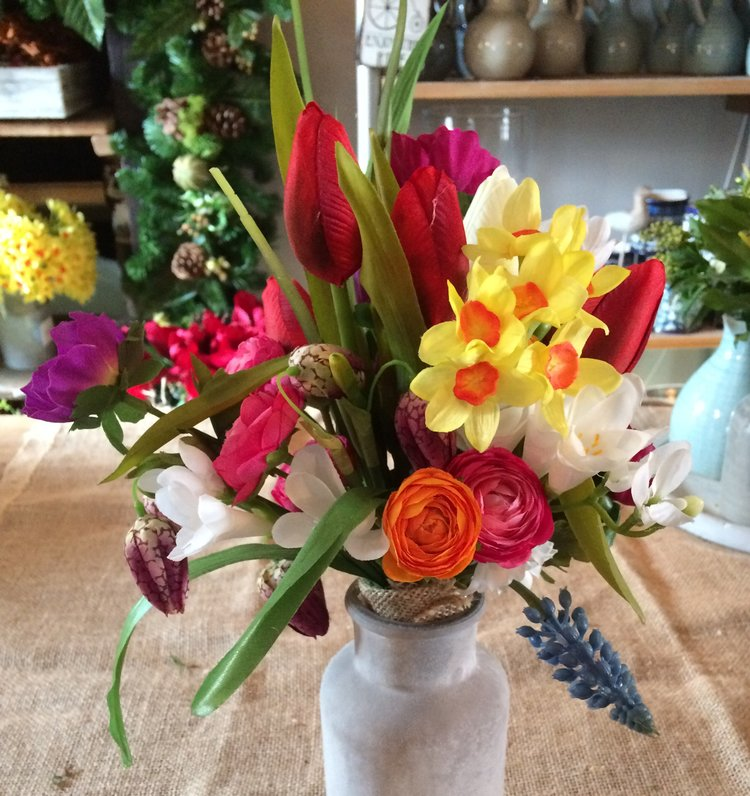 Vase of Artificial Spring Flowers