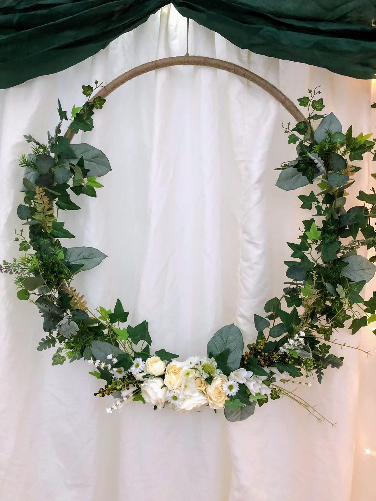 Artificial floral hoop at Longton Wood