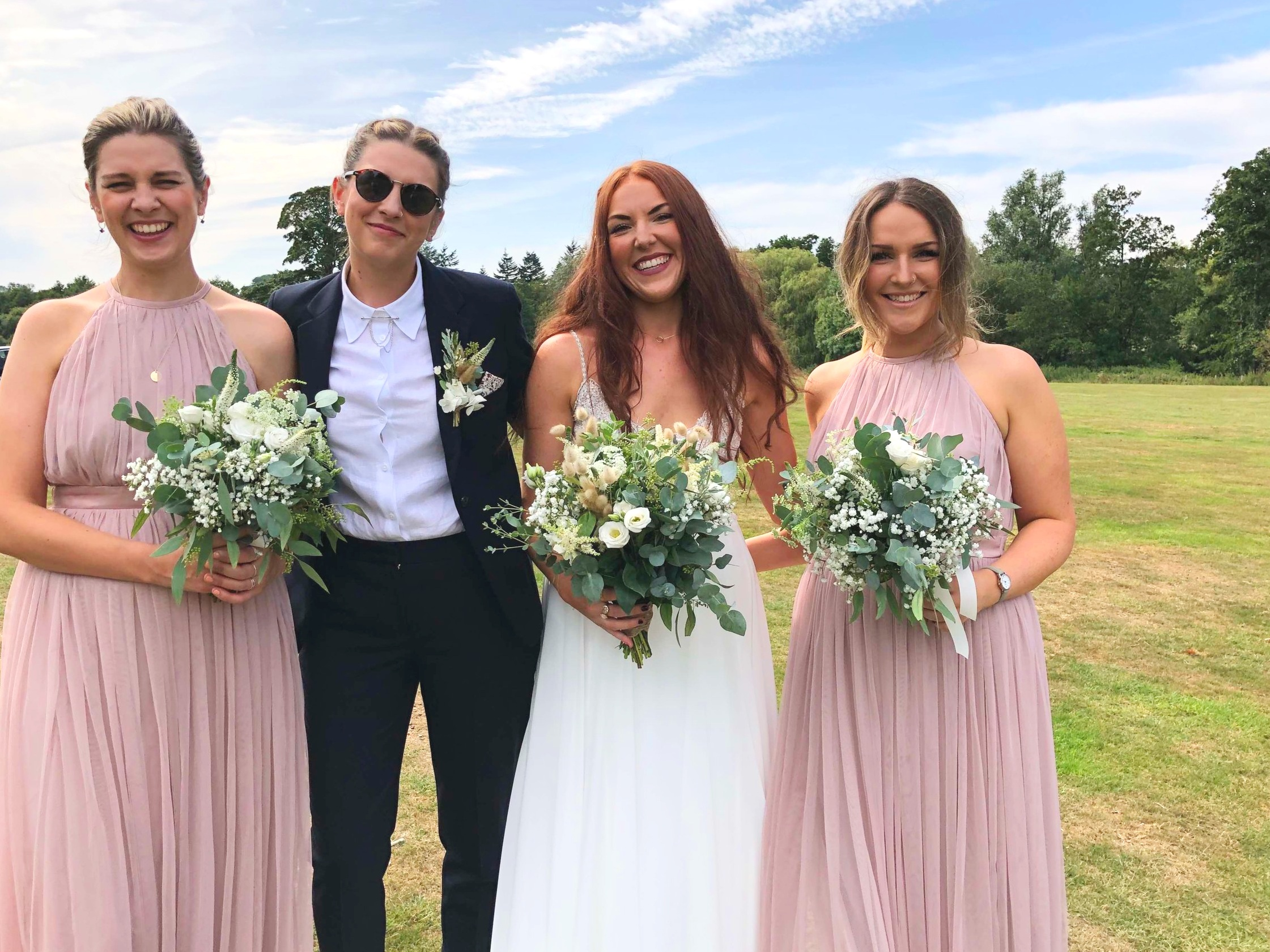 Holly and Vic with their bridesmaid's!