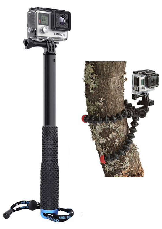 Left: Telescopic selfie stick type pole. Right: Gorilla grip type flexible arm tripod.
