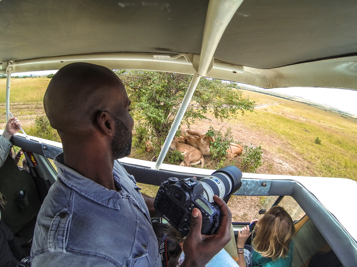 On safari in Kenya with Go Pro attached to a gorilla grip mounted on the roof of the bus.