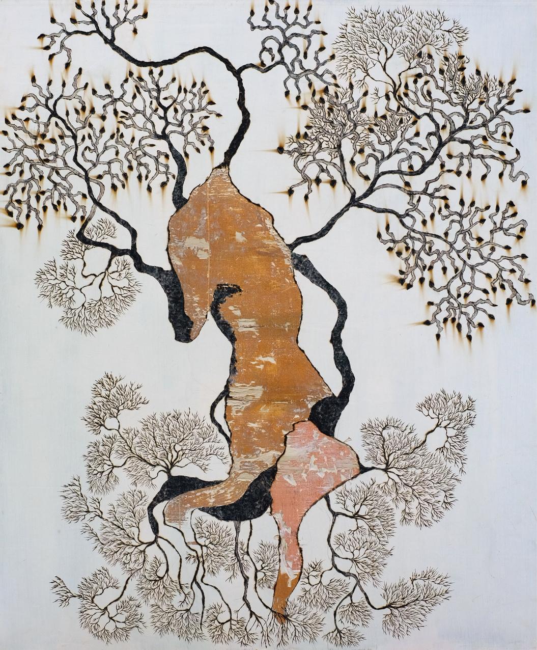 La légende du grand cerf et du chasseur // Format 155 x 125 cm