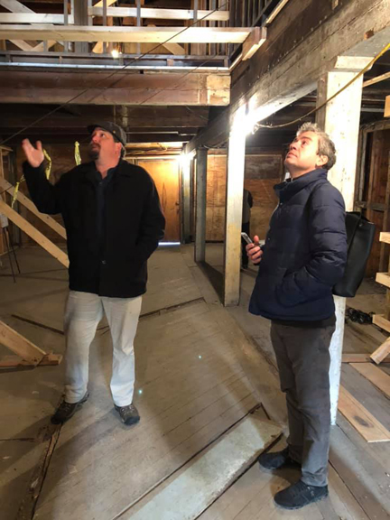 Russell Shorto and Ian Stewart, owner of New Netherland Timber Framing explore the Van Ostrande-Radliff House