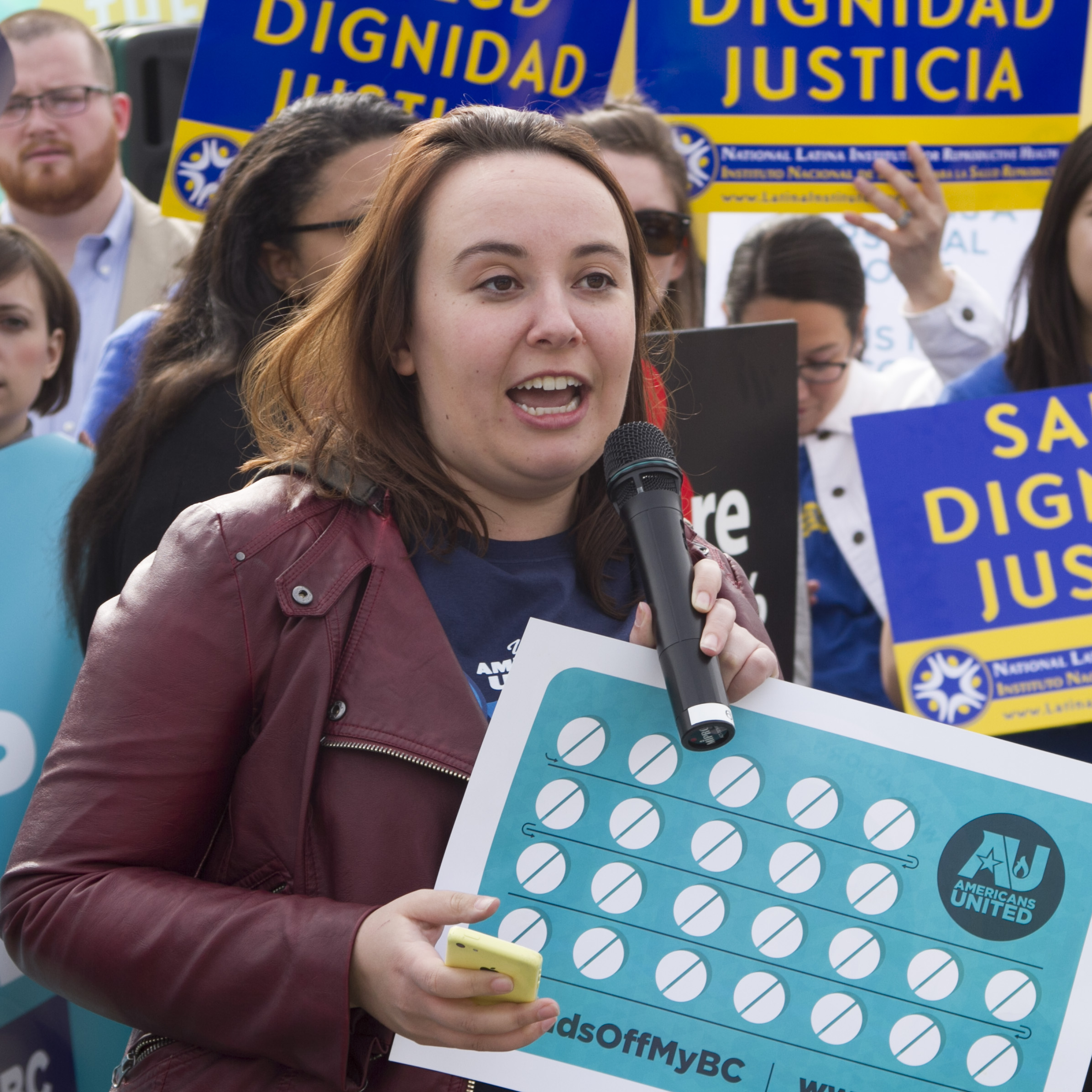 Allison Tanner at #HandsOffMyBC rally in front of the Supreme Court