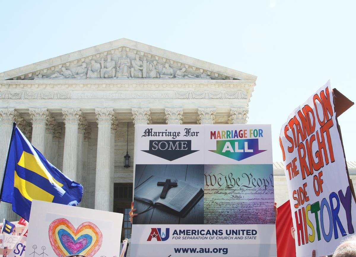 AU rallies outside the Supreme Court the day of the oral argument in the marriage equality case. Image by Tim Ritz.