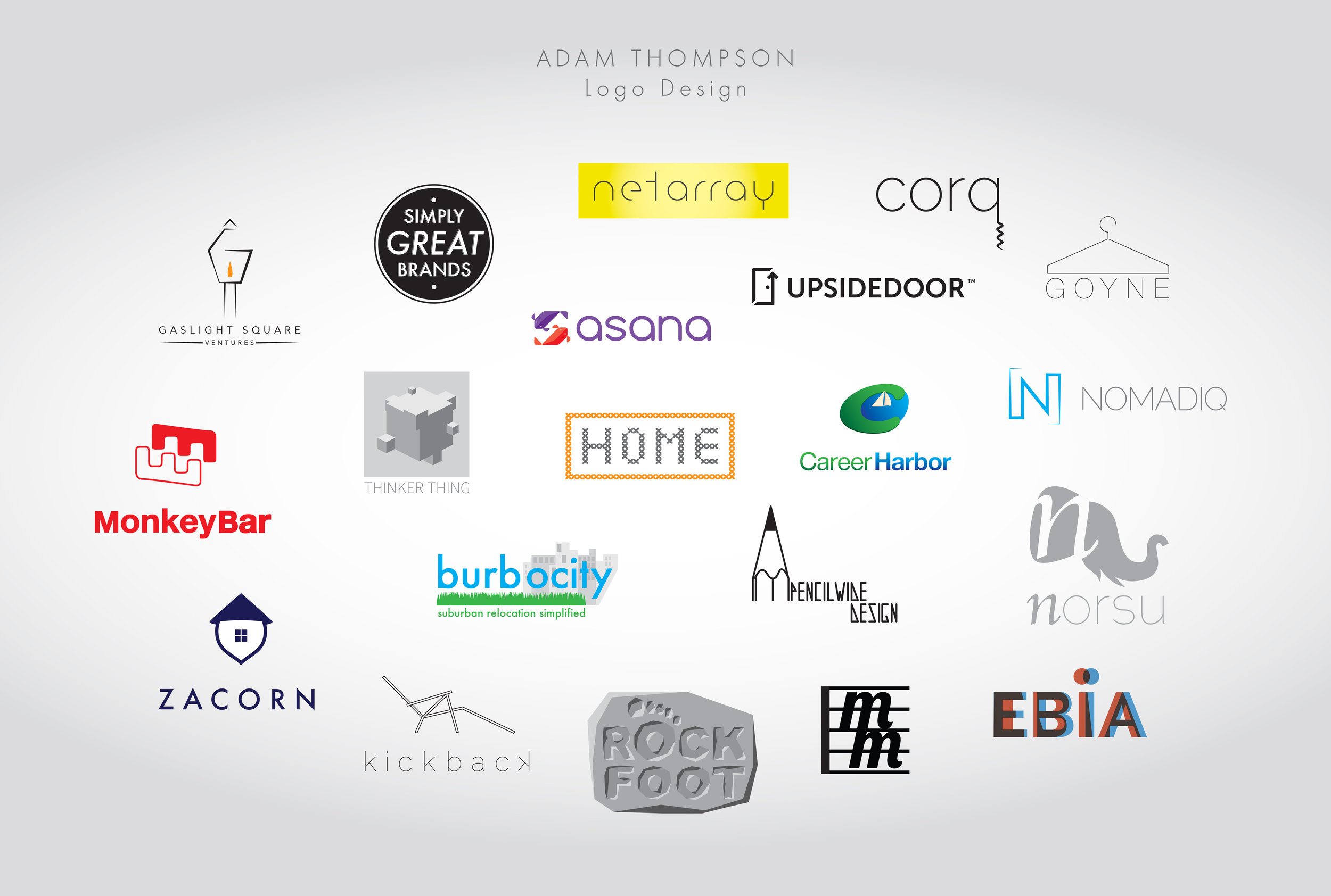 Sample logo designs.