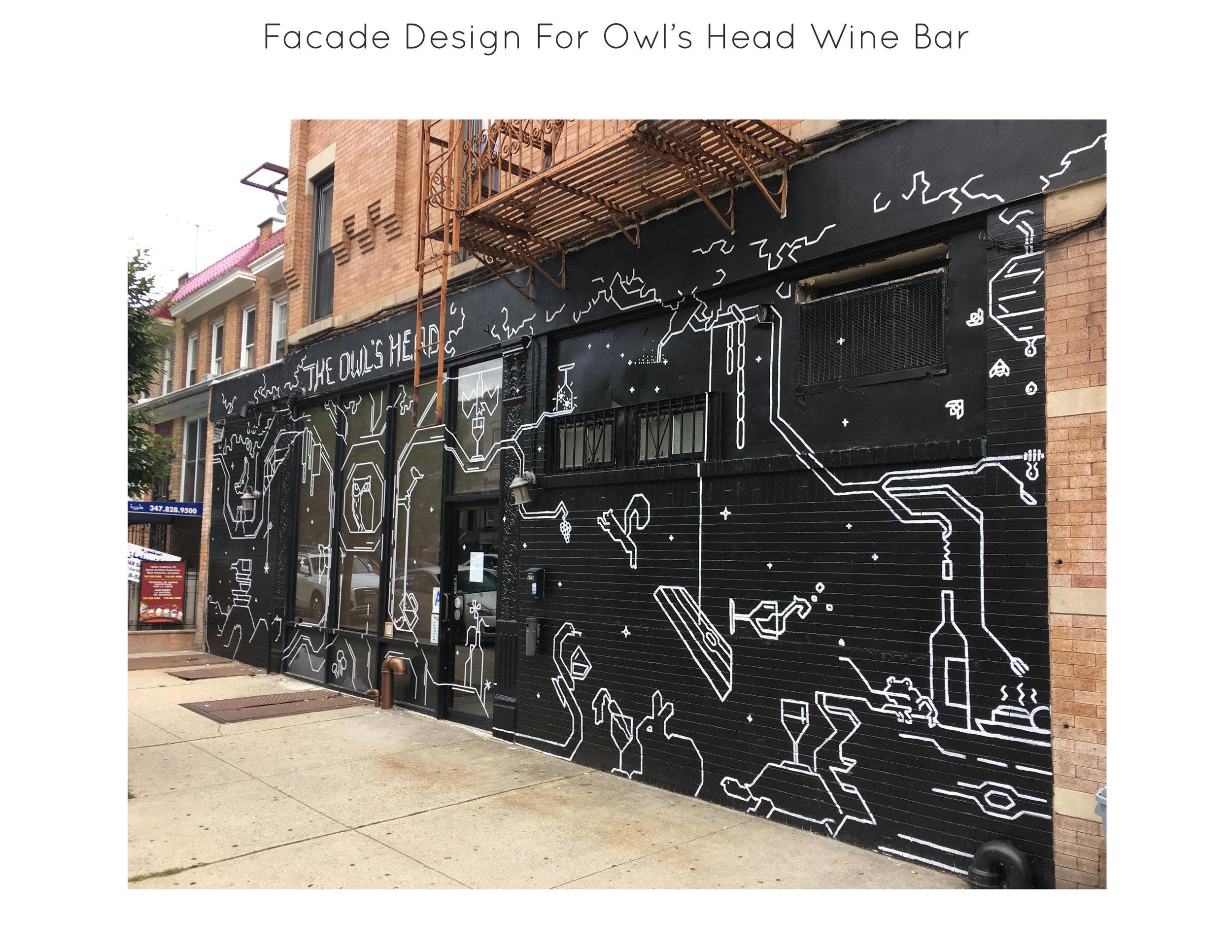 Facade Design for  Owl's Head Wine Bar , Brooklyn, NY.