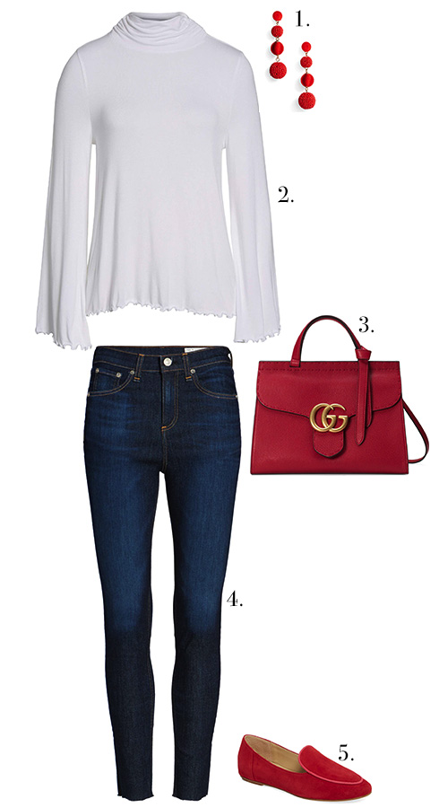 1. Earrings  //  2. Blouse  //  3. Bag  //  4. Denim  //  5. Loafer