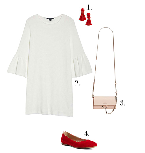 1. Earrings  //  2. Dress  //  3. Bag  //  4. Flats