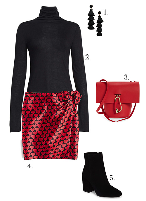 1. Earrings  //  2. Turtleneck  //  3. Bag  //  4. Skirt  //  5. Bootie