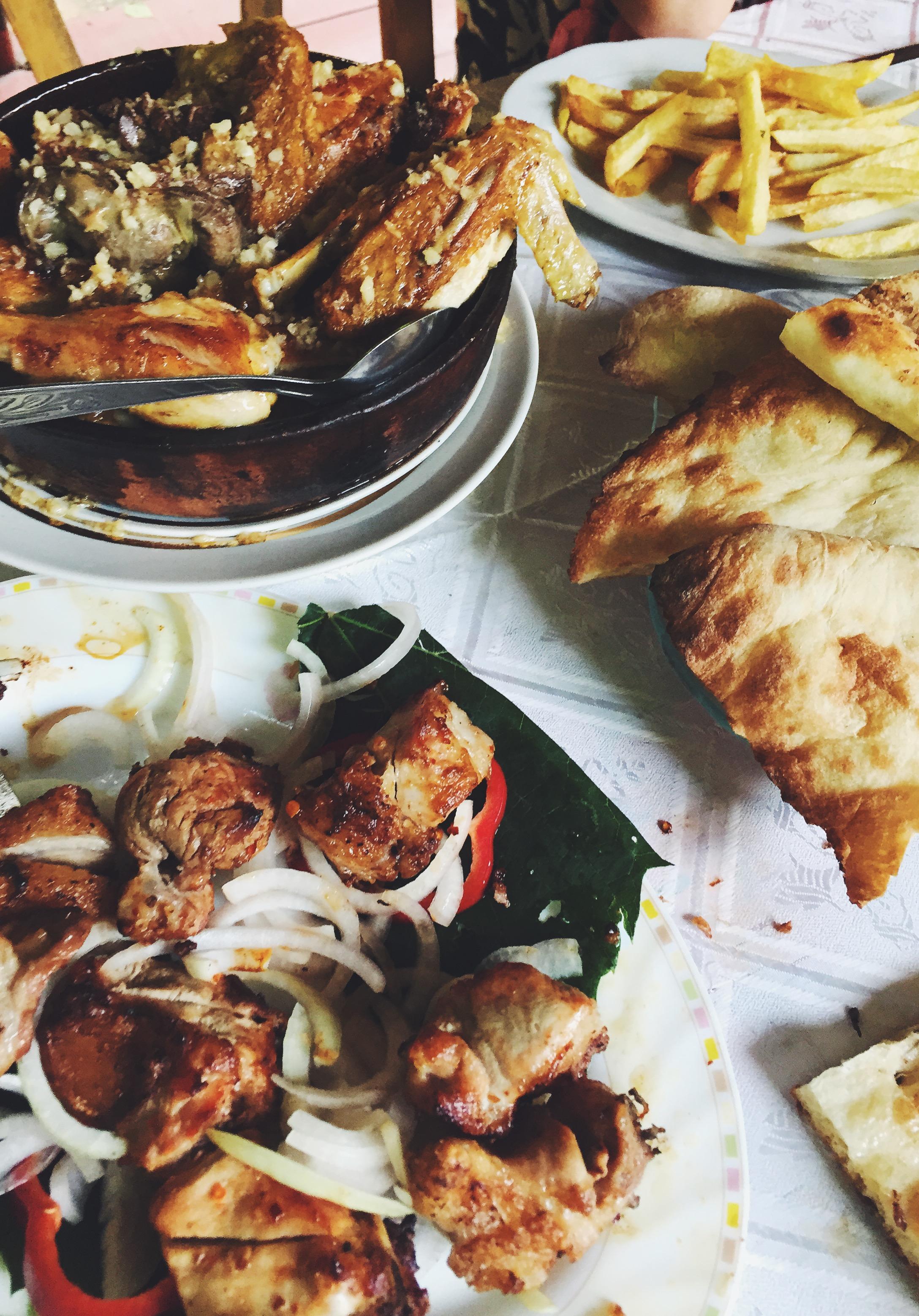 Enjoying  Shashlik (kebab),  Chkmeruli (garlic chicken)and fresh  lavash  by the river Kura.