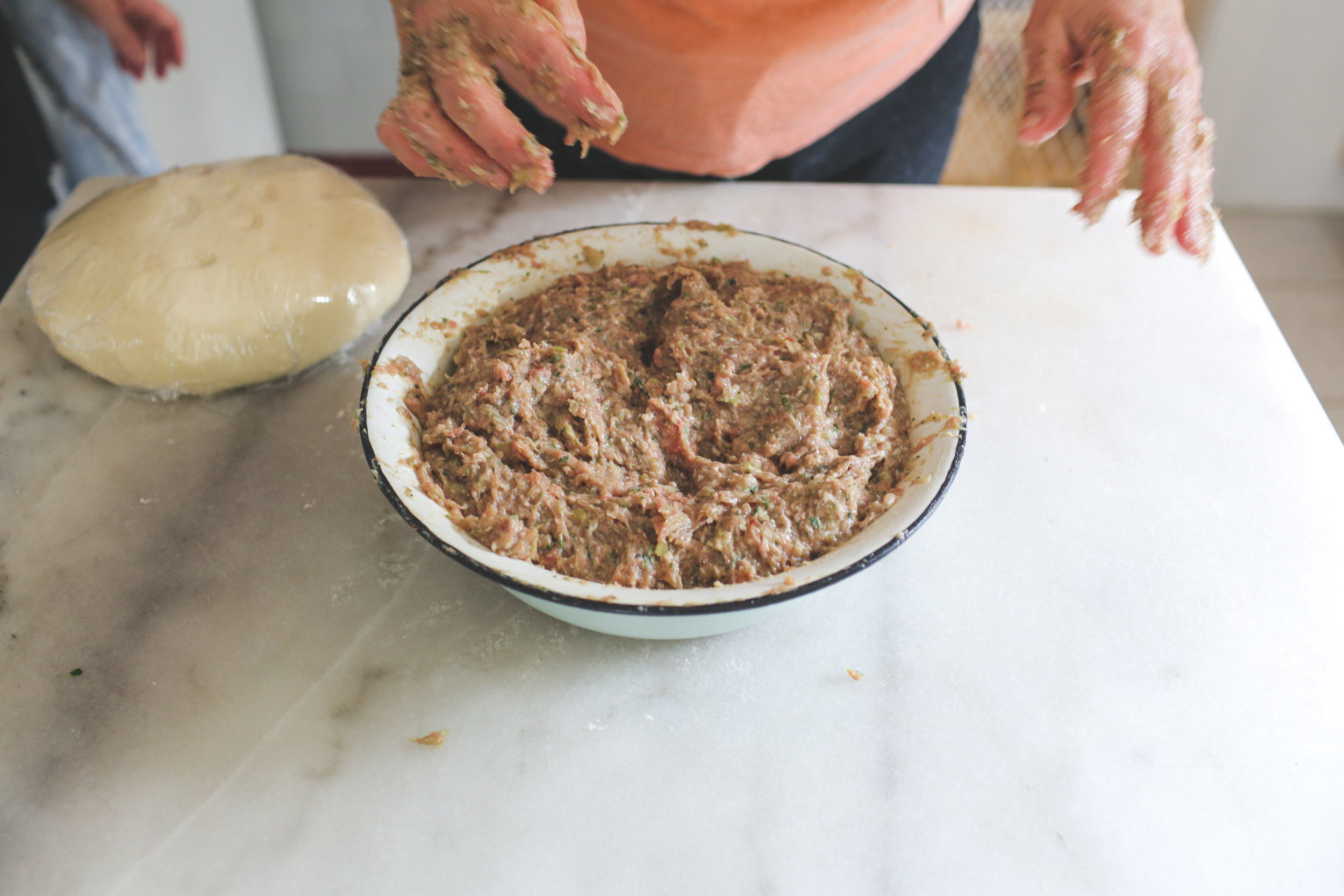 10. Knead well until thoroughly combined.