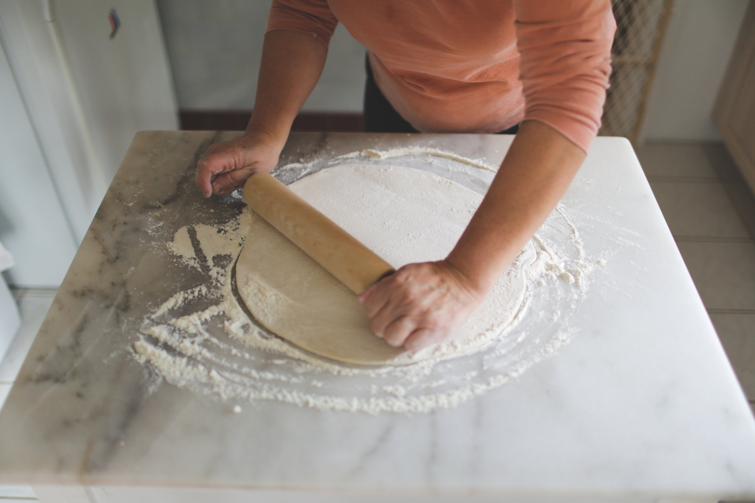 11. Roll out dough into a large circle.