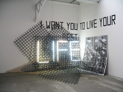 I want you to live your best life-grids, neon tubes,  scotch tape, print glued on mdf slab.jpg