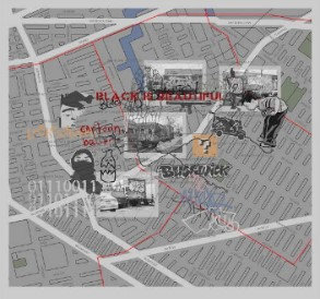 Bundith Phunsombatlert,  Mapping Brooklyn: The Journey as Graffiti_3 (Bushwick Version) , 2015