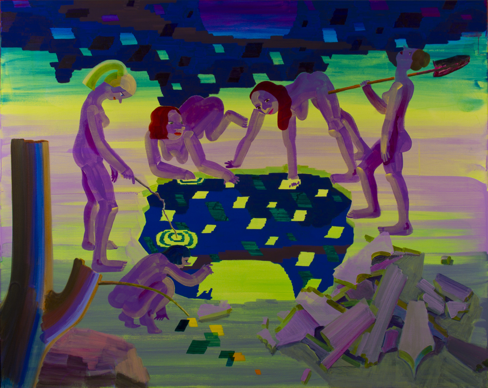 "Hole , 2015, Acrylic and Flashe on canvas, 72"" x 57"""