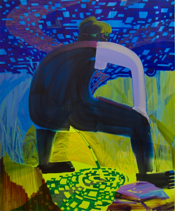 "Peeing Woman , 2015, Oil and acrylic on canvas, 61.5"" x 74.5"""