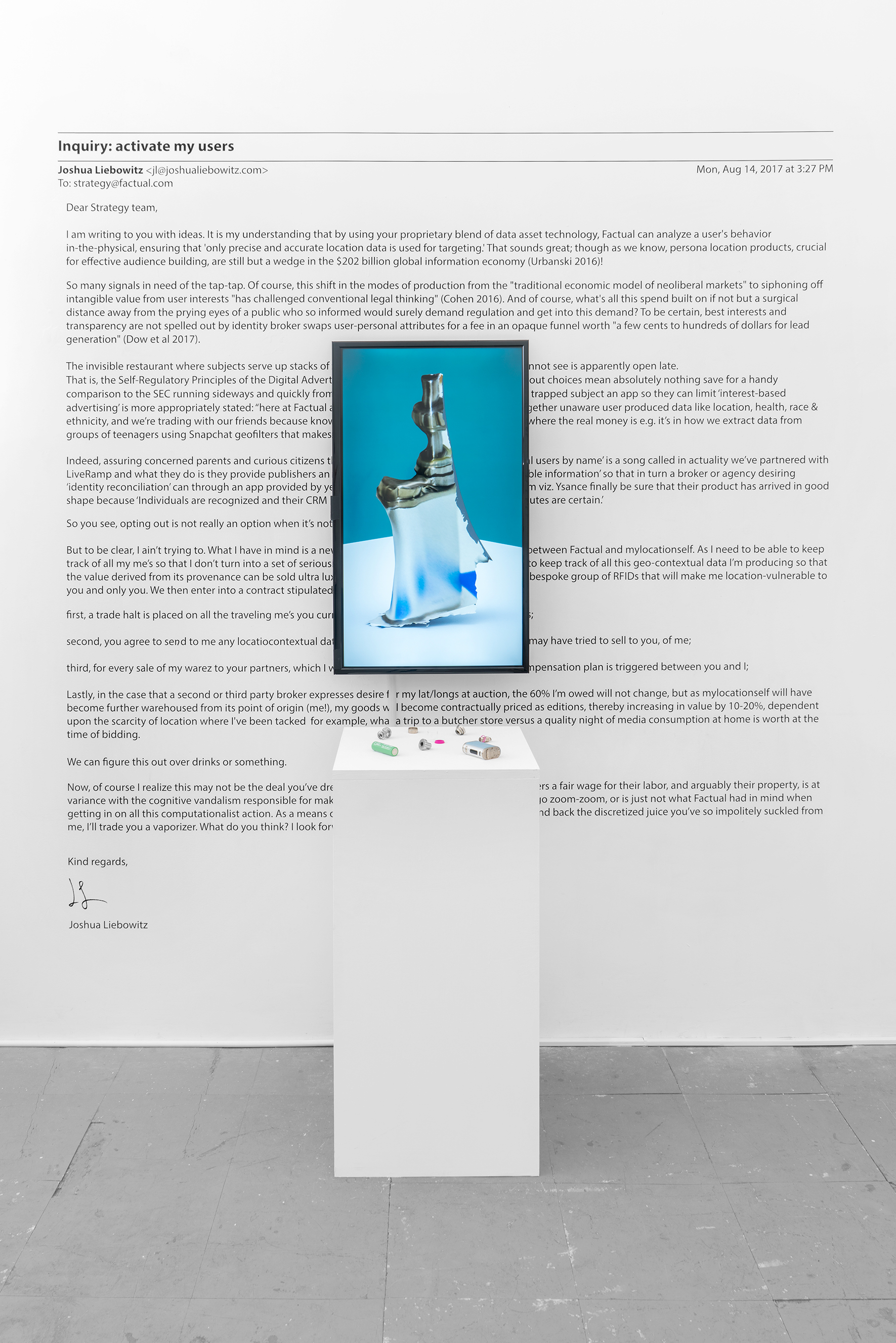 Being Consignment: A Strategy  2017 screen, vaporizer parts, text 17 x 29 x 3 inches, parts and text variable