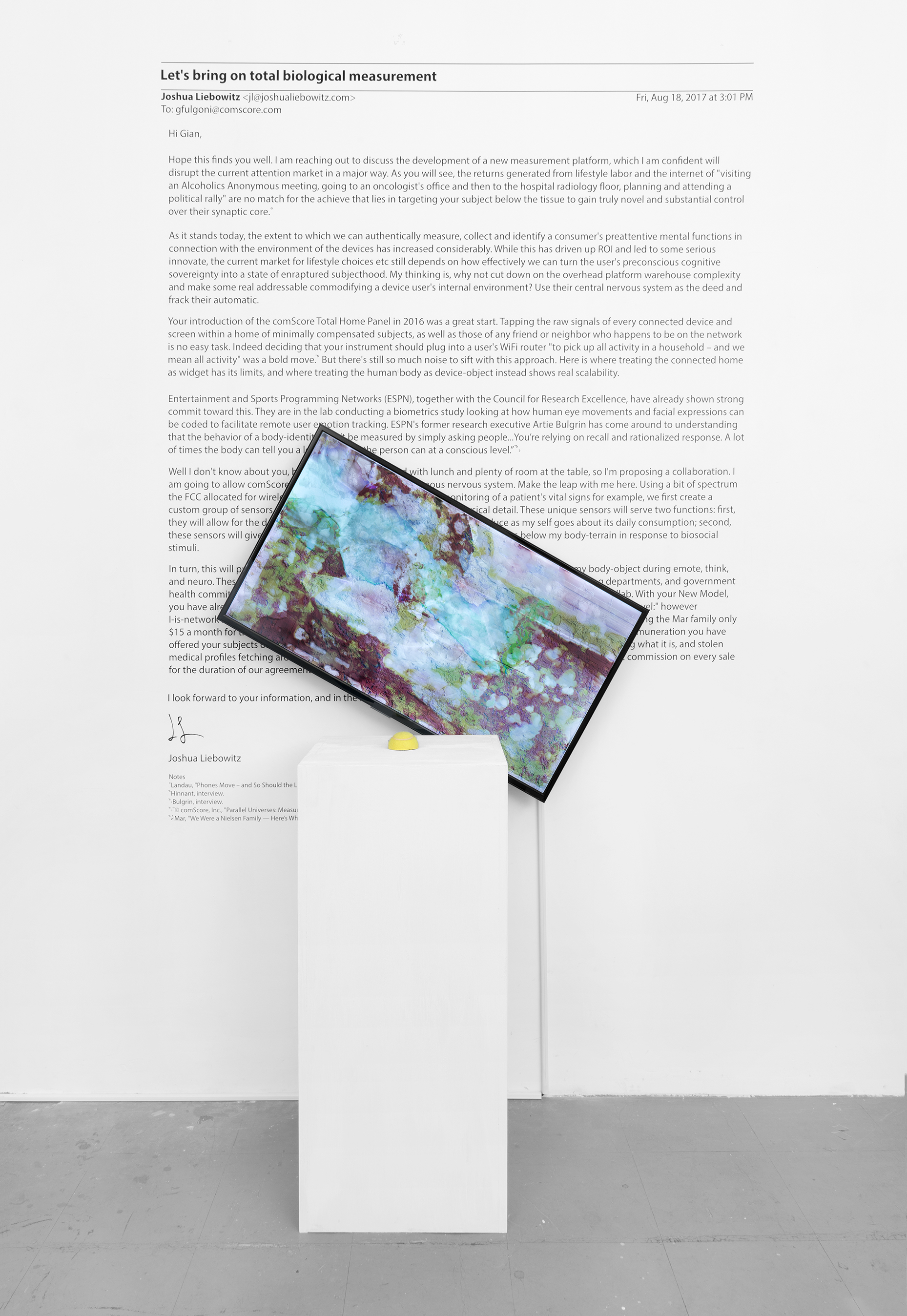 Rental of Automatic Nervous System   2017 screen, tennis ball, text  36 x 21 x 3 inches, ball and text variable