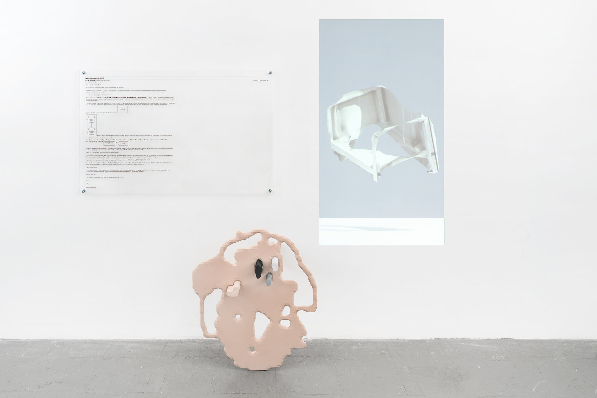 Transfer of Self Over a Network Connection  2017 CNC-routed HDU foam, projection, digital print on acrylic  74 x 76 x 16.25 inches