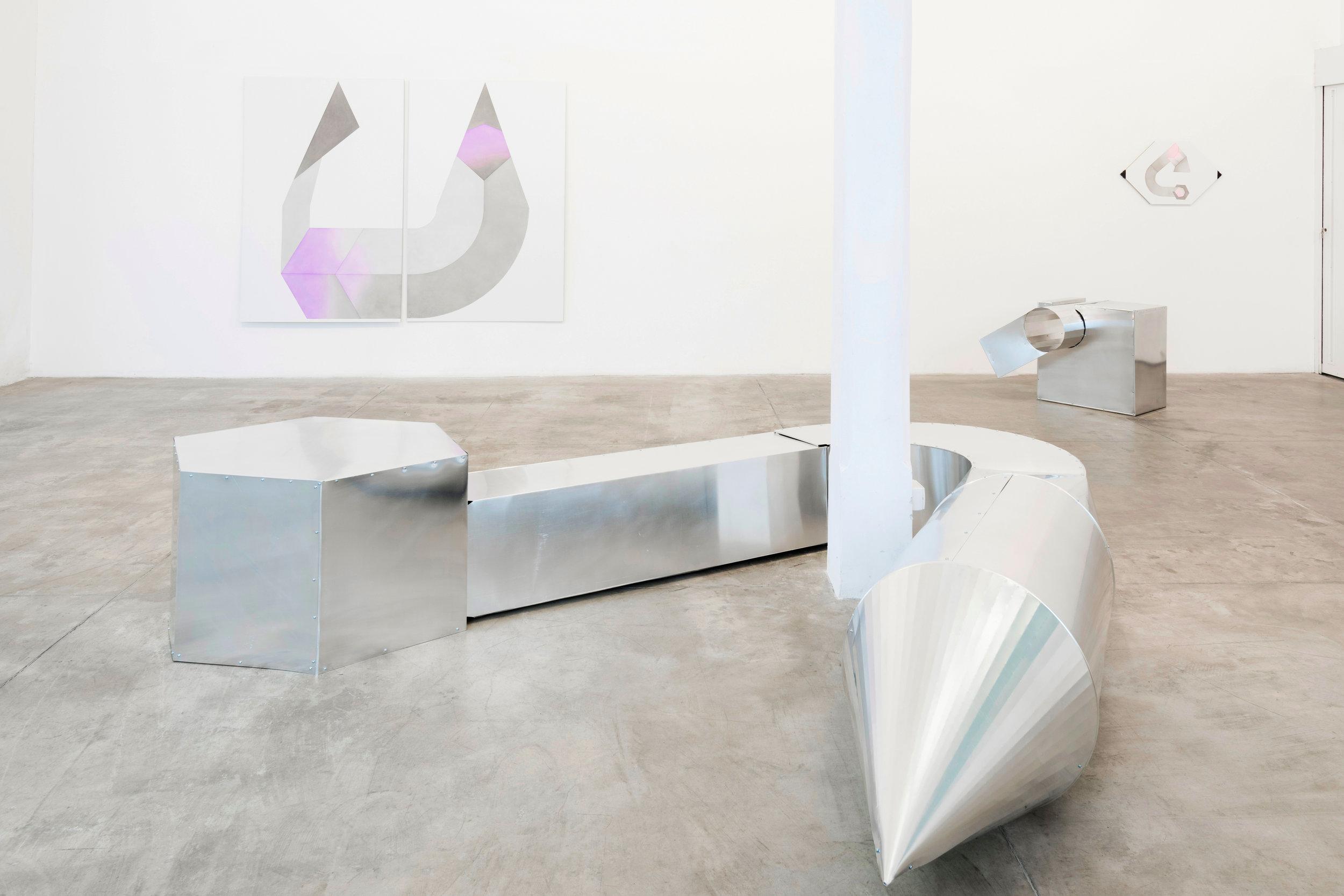 Installation view of the exhibition  L'intenzione di una retta (The intention of a straight line)