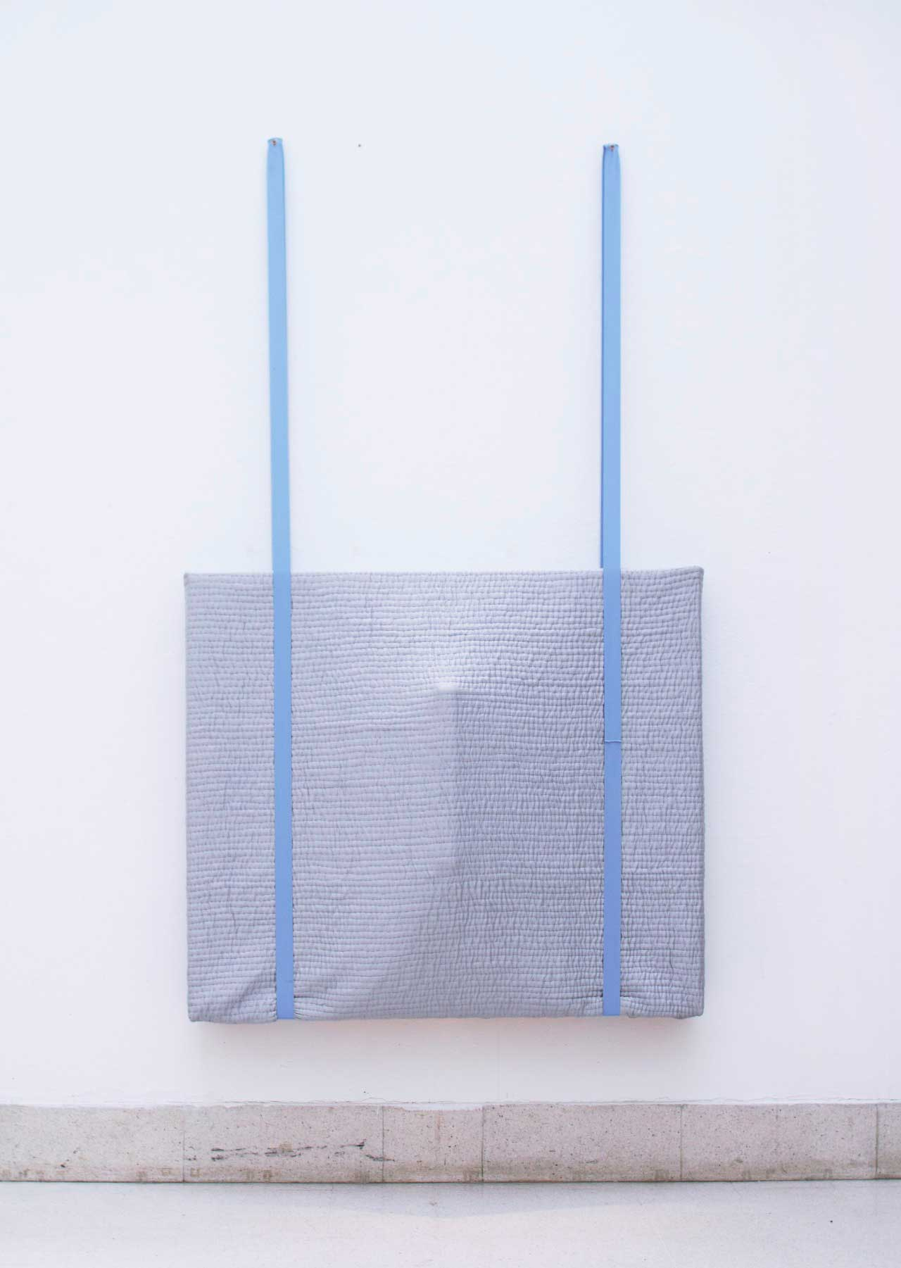 Adam, 2016, blanket, wood and spandex band, 51x59x7.8 (inches)