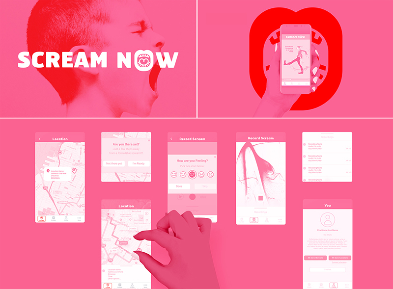 Scream Now (Phone application), 2017, InVision Prototype, 1334x750