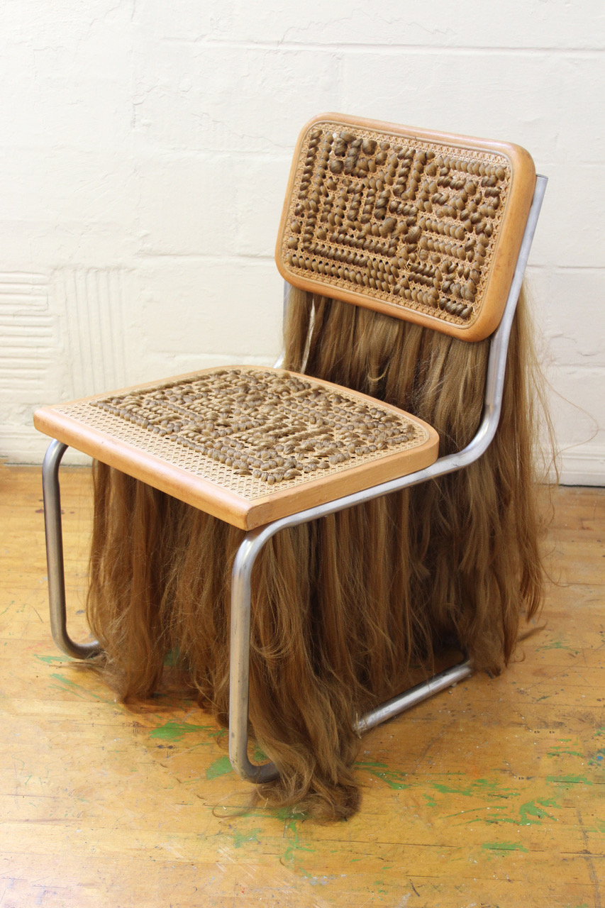 Bimbo chair 2, 2017, cane, wood, steel, synthetic hair,  23.5 x 32 x 23.5 inches