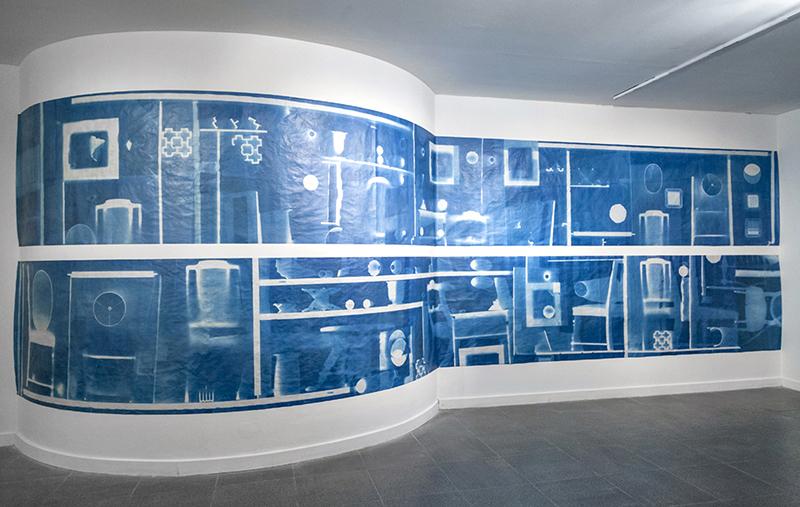 Avenida de los Incas, cyanotype photograms and wax on Japanese paper, 220 x 900cm, 2016