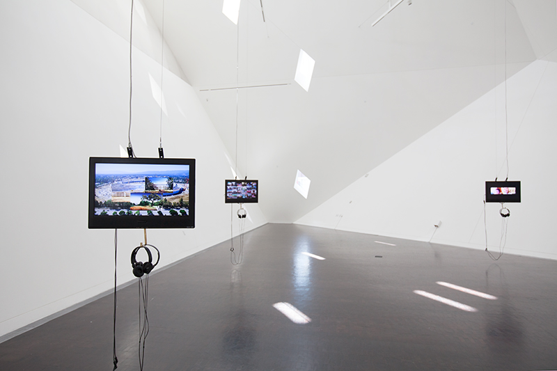 Silicon Landscapes, 2017, install view at Contemporary Jewish Museum of 3-channel high definition video, 15:59min.