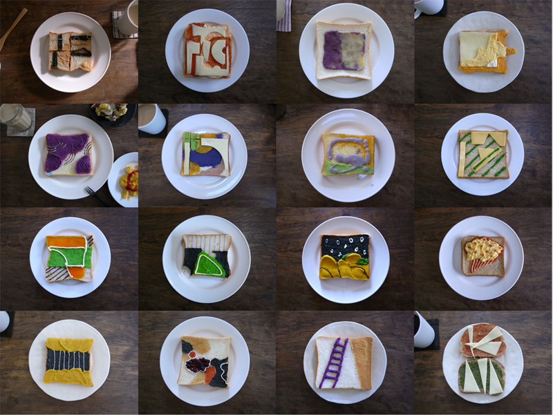 Abstract Butter,2012,Bread,Cheeses,Eggs,Spinaches,Potatoes,Sesame Paste, Fruits Jam,Greenpeace,Squash,Chocolate,Ketchup,Mayonnaise,Peanut butter, 4.3×4.3×0.6 inches 16 toast