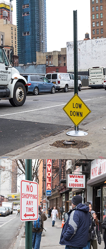 Double-Take(Ver.09)_Low Down, 2017, Redesigned Traffic Sign, Sign Post, Sign Post Base, 75x24x14.5(in)