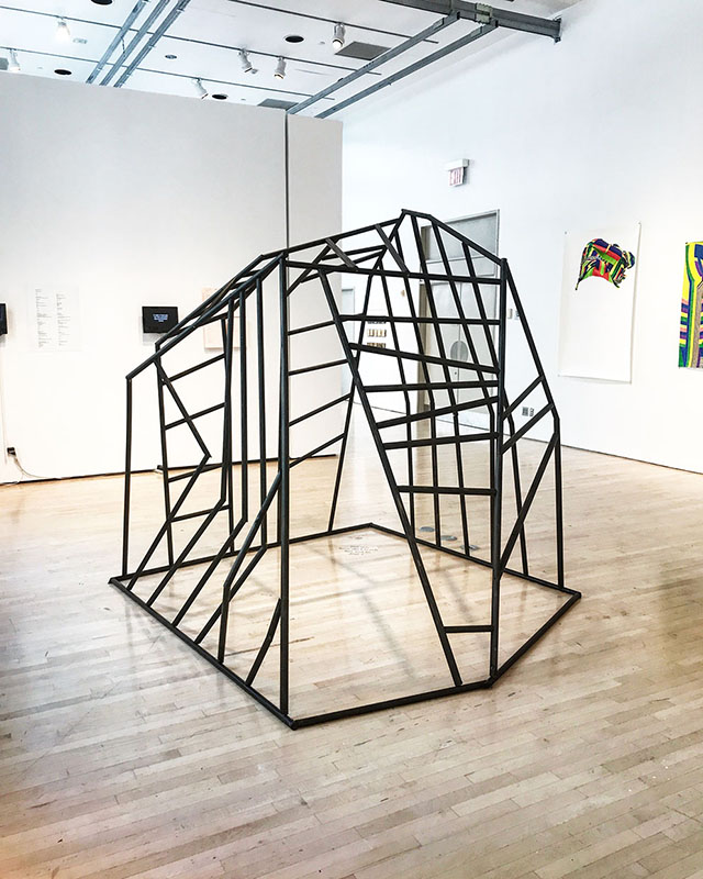 A Mountain for My Daughter (How Do I Teach Her Not to Fear) wood dowels and wood stain 96 x 60 x 72 inches, 2017