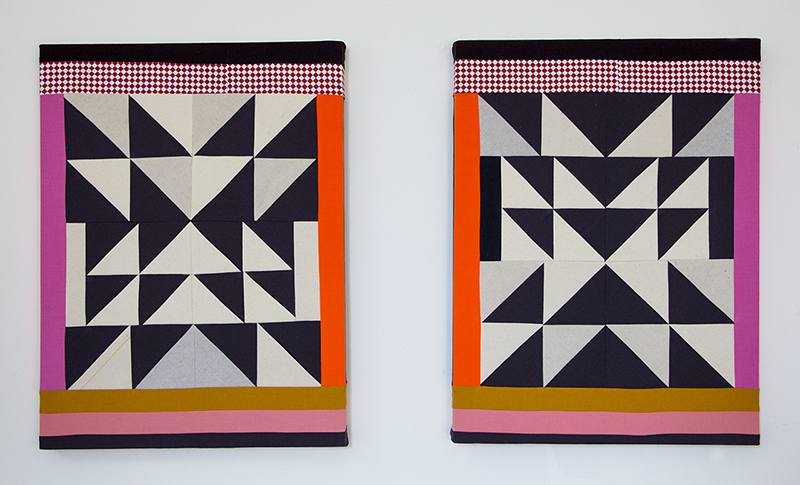 """Lucky Star"" (Diptych), 2018, Pieced and sewn cotton and canvas, colored pencil, 24 x 18 inches each"