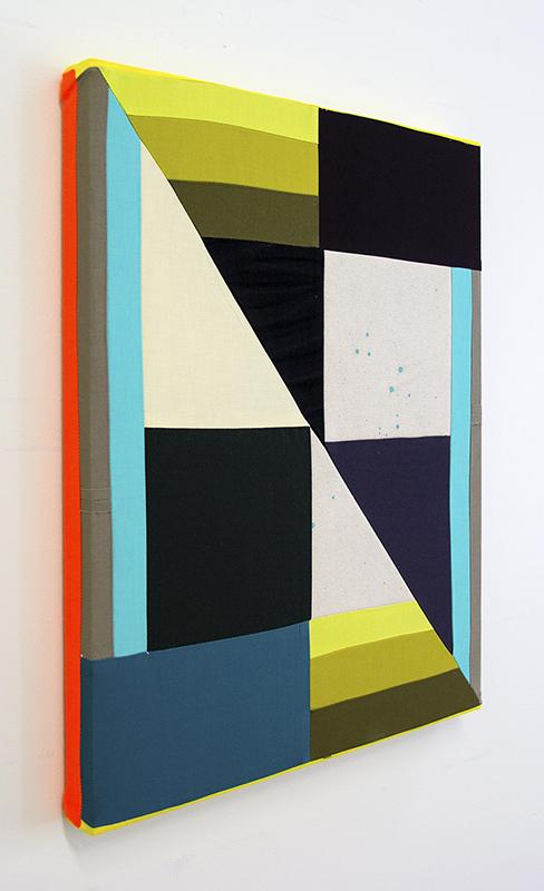 """of Color (No. 7)"", 2019, Sewn cotton, canvas, Levi's denim, acrylic, 20 x 16 inches"