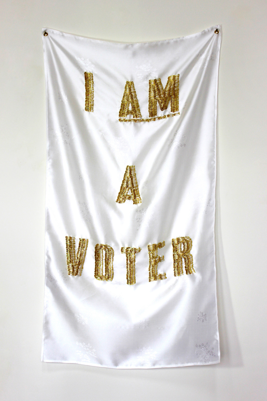 """""""Like Any Other: No. 54 (I Am a Voter)"""", Safety pins, silk and thread, 40"""" x 22"""" x 3"""", 2018"""