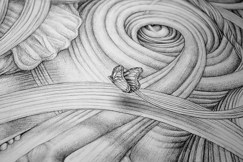 "Detail of the work ""Butterfly Effect"", 2018, ink drawing, 59'' x 137''"