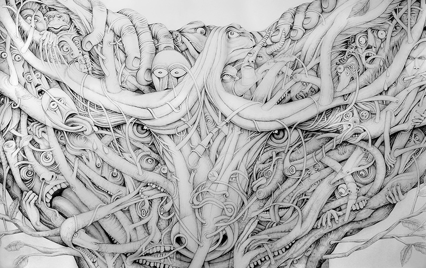 """Constant State of Tension"", ink drawing, 2015, 59'' x 94''"