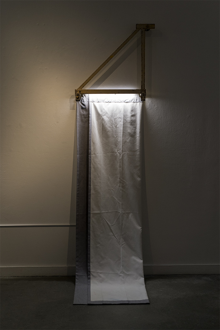 Everything Doesn't Make Us Feel Guilty? , 2018, Found-object, light, curtain, 20 x 74
