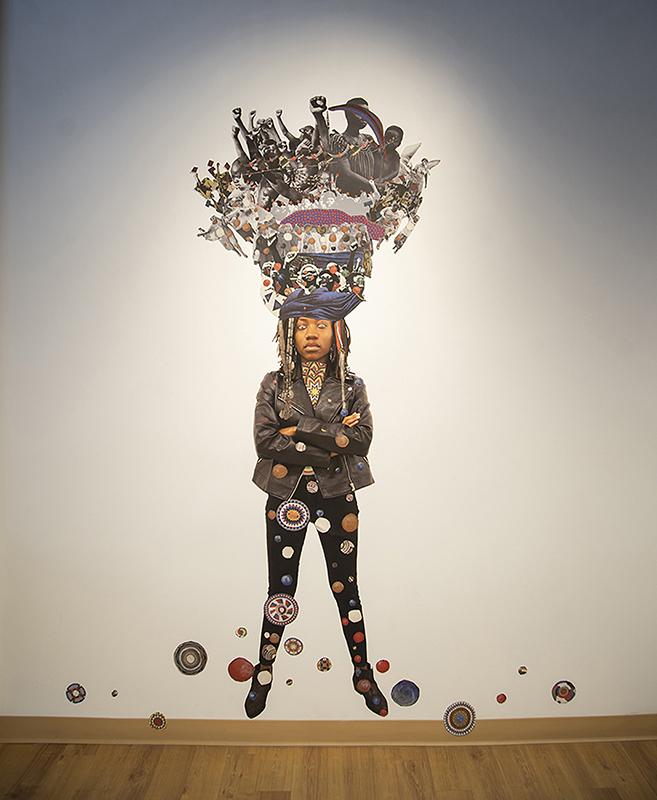 """Headdress 4"", 2019. Collaged Paper, 96"" x 45"""