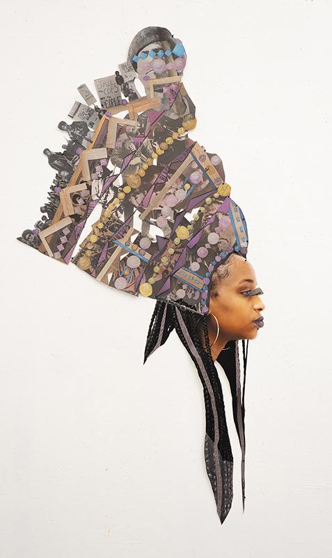 """Headdress 1"", 2019. Collaged Paper, 51"" x 27"""