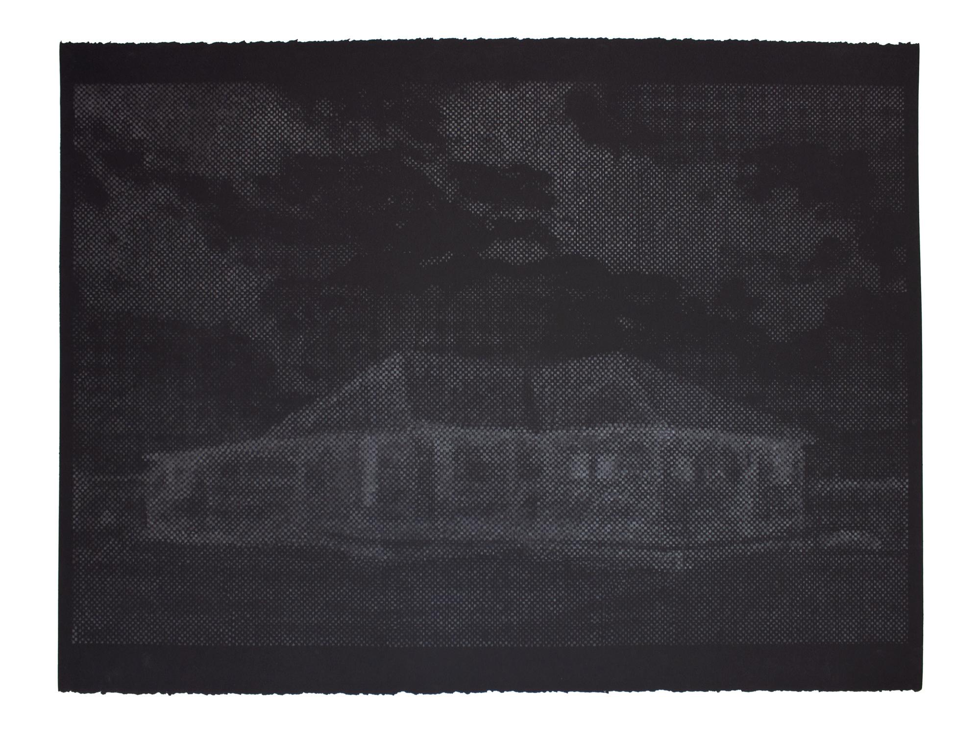 John Whitten,  Cabin , graphite on Black Paper, 23 x 30 in