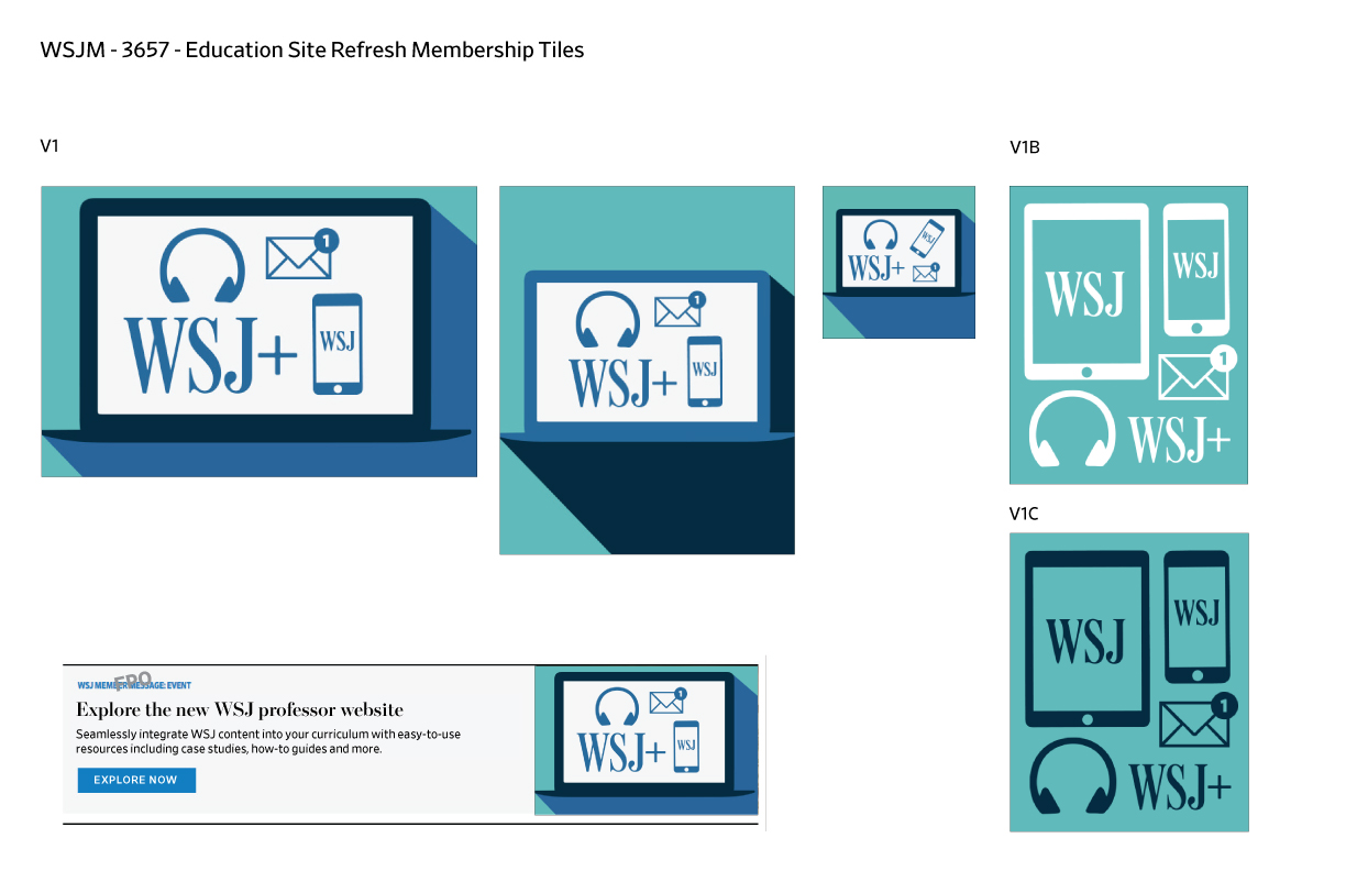 """Concept designs for """"membership tiles"""" – visuals for advertisements for the new education site refresh launch."""