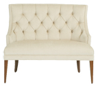 "Amelie   Designer Banquette    Displayed  In: White Linen Wood Tapered Legs   Dimensions:   W: 42″-66″"" (customizable)  D: 29″  H: 40″   Custom sizes & fabrics   are always available.   The grace of the Amelie design features diamond tufted back with turned tapered wood legs. Available with optional nail-heads for a more formal dining room. Customize the fabric and finish to suit your bar or restaurant."