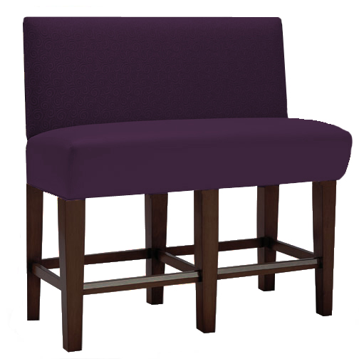 Saratoga Bar Height   Custom Banquette    Displayed  In:Plum Velvet   Dimensions:   L: 60″  D: 26″  H: 48″  Great design for bar seating with high-tops.  Makes eating in the bar more of a dining experience.
