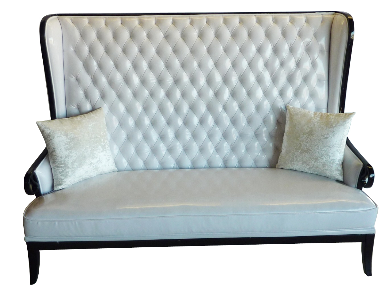 "Champagne   Designer Banquette    Dimensions:   W: 72.5″  D: 29″  H: 55″  *See Matching Lounge Chair  *Back To Designer Banquettes  Perfect for a ""Grand Lounge""   *Available in customs sizes & fabrics."