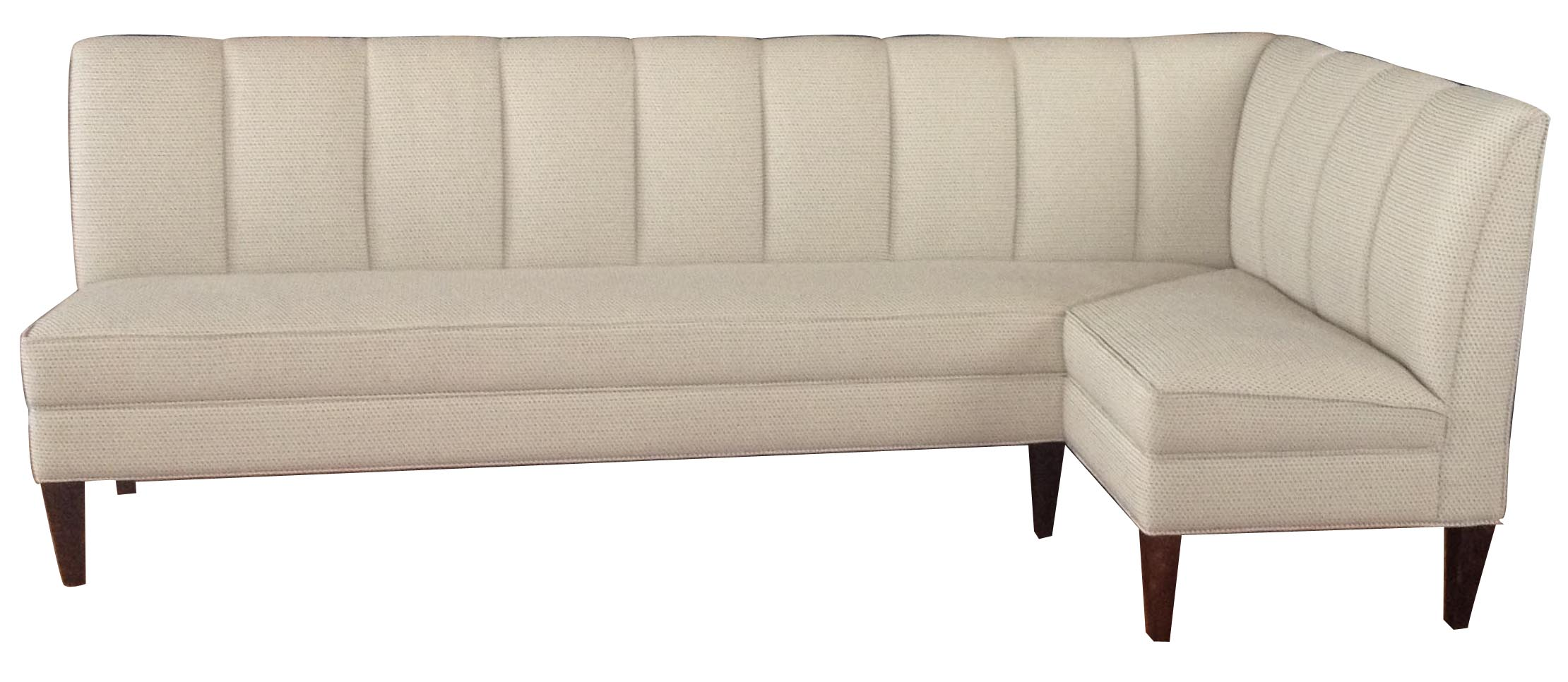 Chanel   Designer Banquette   Displayed   In:  Fabric:   Off White Robert Allen Fabric   Dimensions:   W: 96″ by 48″  D: 24″  H: 34″  Available in custom sizes & fabrics.  For the chicest of restaurants who pamper their customers with comfort and style.