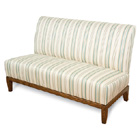 Devonshire   Designer Banquette   Displayed  In: Striped Fabric American Oak Stained Wood Legs, Brass Casters   Dimensions:   W: 52″ (customizable)  D: 31.5″  H: 37.5″   Available in custom sizes & fabrics.   A classic silhouette is displayed with a comfy contoured back.  The framing detail on t base provides the perfect accent and clean design for center isle seating.
