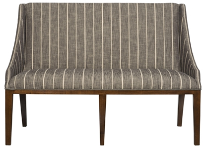 Ithaca Designer Banquette   Displayed  In: Carver Peppercorn Fabric Wood stain: New Rich Walnut   Dimensions:   W: 52-1/2″  D: 27-1/2″  H: 37-1/2″  The Ithaca banquette is stately with slender birch wood legs and would be appropriate for a more formal restaurant dining room. The gentle slope and shape of the back and arching rear legs work great in a room where the back of the banquette is visible.