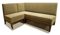 London Designer Banquette    Displayed  In: Beige Fabric and Dark Walnut Wood Legs   Dimensions:   W: 48″ X 36″  D: 25″  H: 48″   Available in custom sizes & fabrics.   This Designer Banquette features clean lines and durable construction with tapered wood legs.
